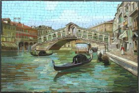 20th C. Micromosaic Plaque, Venetian Canal