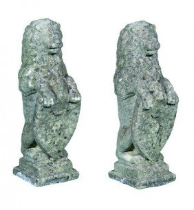 Pair Of English Lion And Shield Finials