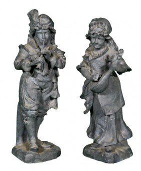 Pair Of English Lead Statues