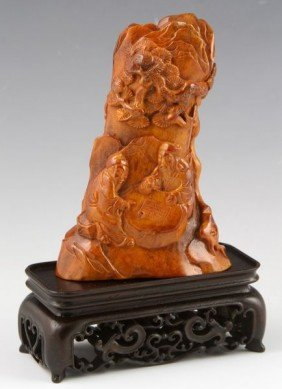 Chinese 19th C. Carved Horn