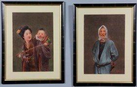 Pair Of Japanese Watercolor