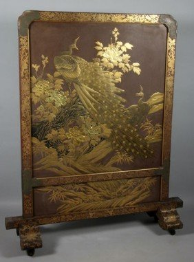 19th C. Japanese Lacquer Screen