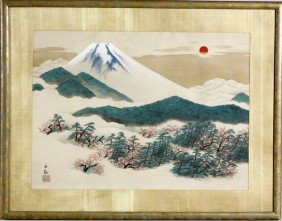 20th C. Japanese Painting Of Mt. Fuji