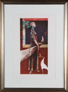 Baques, Figure, Embossed Chromolithograph