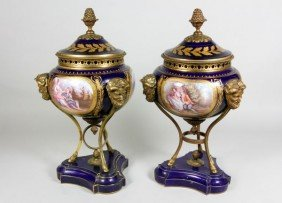 Pair Of Early 19th C. French Sevres Covered  Urns