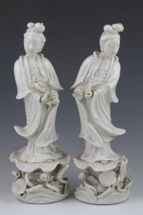 Pair Of Chinese Guan Yin Figures