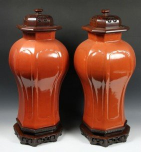 Pair Of 19th C. Chinese Porcelain Urns