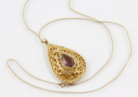 14K Gold And Amethyst Pendant