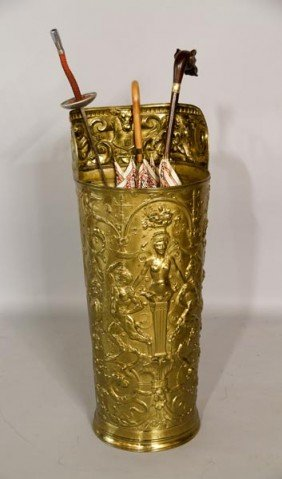 Embossed Brass Umbrella Stand