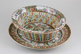 Rose Medallion Bowl With Under Plate
