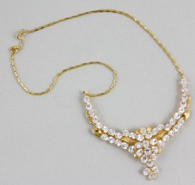 22K Yellow Gold And White Sapphire Necklace