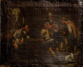 17th/18th C. Dutch School, Tavern Scene, O/C