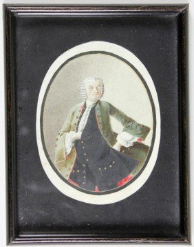 18th C. Portrait Miniature On Vellum