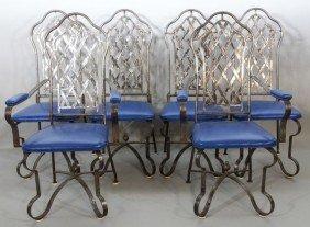 6 1970's Custom Iron And Vinyl Chairs