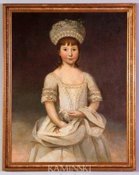 18th C. Portrait Of A Girl, O/C