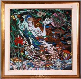 Kang, Two Mermaids, Gouache On Paper
