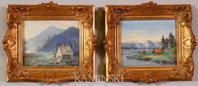 Weindorf, Pair Of Landscapes, O/B