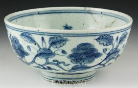 Chinese Ming Blue And White Bowl