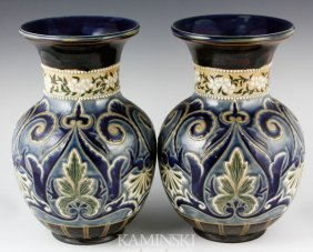 Pair Of 19th C. Doulton Lambeth Vases