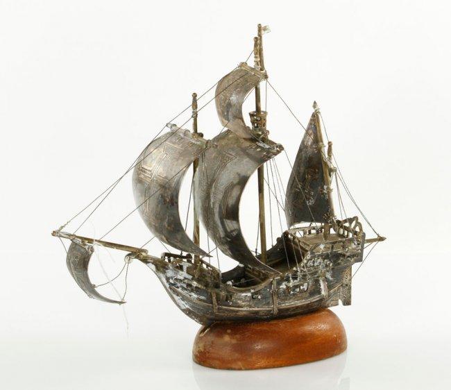 Portuguese Silver Ship Model Lot 8029