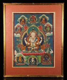 19th C. Sino Tibetan Thangka, Watercolor