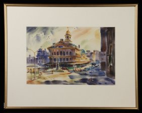 Cox, Faneuil Hall, Watercolor