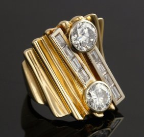 Ladies 14k Two-toned Gold And Diamond Ring