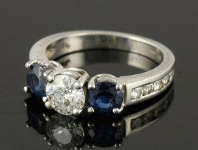 Platinum, Diamond And Sapphire Engagement Ring