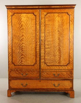 19th C. English Satinwood Wardrobe