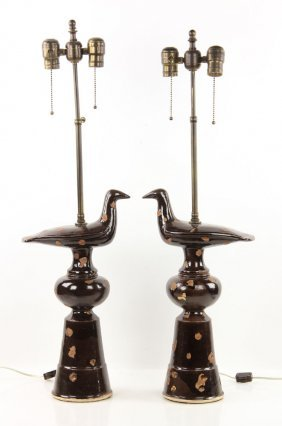 2 Pottery Bird Lamps