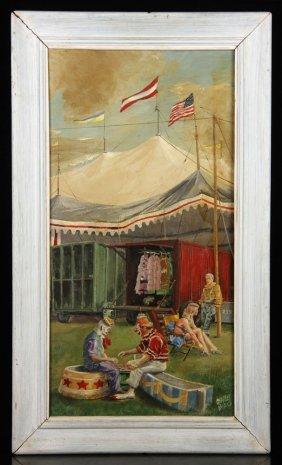 Biro, Circus Scene, Oil On Panel