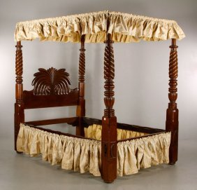 19th C. Walnut Canopy Bed