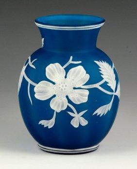 Blue Cased Glass Vase
