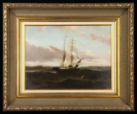 Valenkamph, Ship At Sea, Oil On Canvas