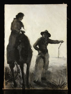 Woman On Horseback, Oil On Canvas