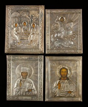 Lot Of 4 Russian Silver Icons