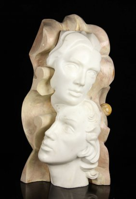 Toneanti, Carved Marble And Wood Sculpture
