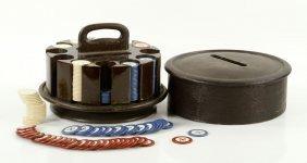 Vintage Poker Chips In Case