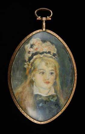 19th C. Miniature Portrait Of A Girl