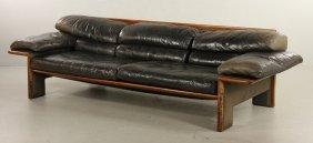 Mid-century Modern Black Leather Sofa