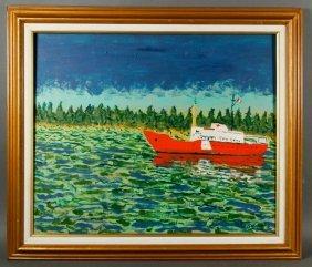 Swartz, Boat Along Shoreline, Oil On Canvas