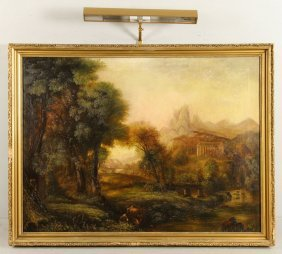 Italian School, Landscape With Ruins, Oil On Canvas