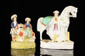 2 English Staffordshire Pottery Figures