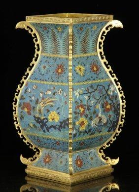 Chinese Qing Dynasty Cloisonne Hu Vase