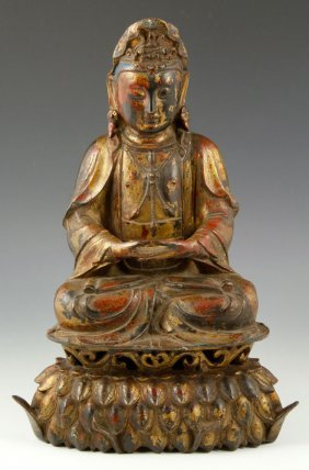 Ming Style Chinese Gilt And Lacquered Guanyin Figure