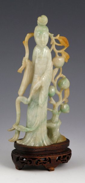 Carved Chinese Jadeite Beauty Figure