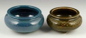 Two Jun Porcelain Tripod Censers