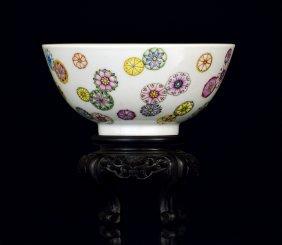 Chinese Famille Rose Flower Ball Bowl