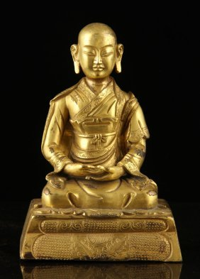 Sina Tibetan Gilt And Bronze Seated Buddha