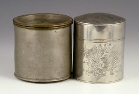 Two Chinese Pewter Tea Caddies